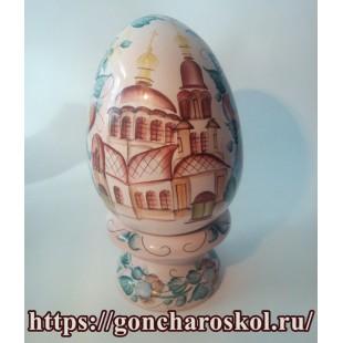 Керамическое Яйцо с храмом. Майолика.